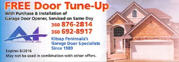 Free Door Tuneup with purchase & installation of garage door opener.
